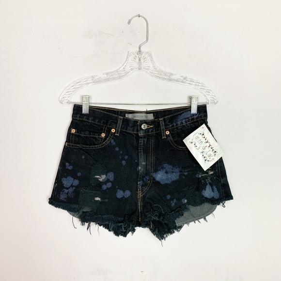 Levi's Pants - Vintage Levi's hi rise denim shorts bleach splat